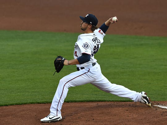 Former Pack baseball player Braden Shipley was the starting pitcher for the Aces on opening at Greater Nevada Field on Tuesday April 11, 2017.