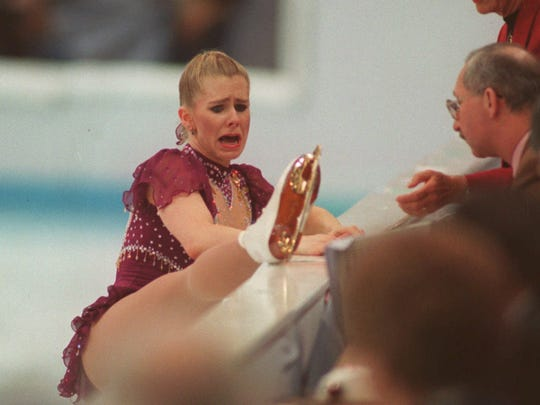 In a file photo from February 1994, Tonya Harding shows