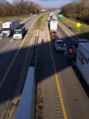 Motorists on westbound U.S. 35 sit at a standstill