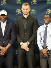 The Indiana Pacers introduced Victor Oladipo (left),