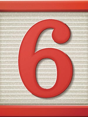 3d red number block 6