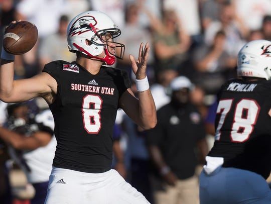 Southern Utah University quarterback Chris Helbig (8)