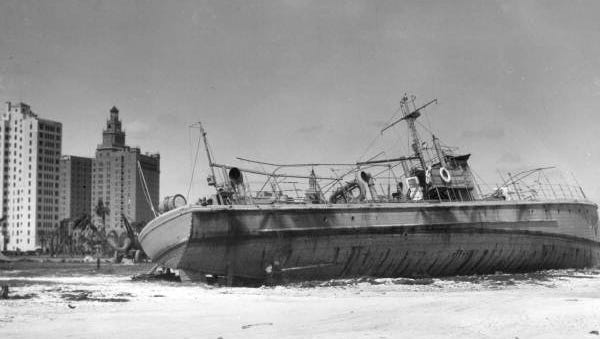 This Coast Guard cutter was washed ashore at Bayfront Park during the Great Miami Hurricane, Sept. 18, 1926. The hurricane produced a 10-foot storm surge.