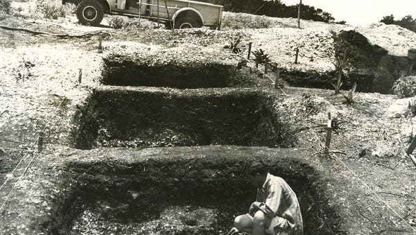 Archaeologist at excavation site in Caxambas on Marco Island, Florida.