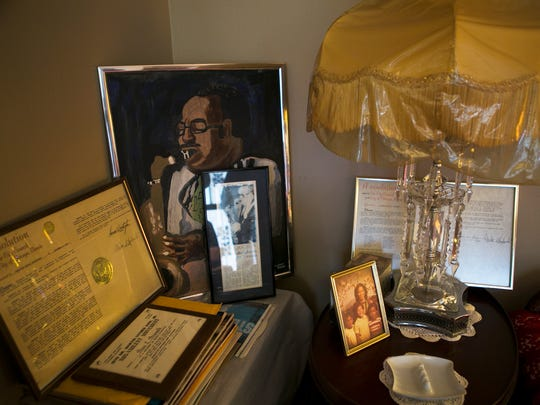 "March 16, 2017 - A painting of jazz saxophonist Ben Branch and other momentos rest in a corner of the living room in the home of his widow, Vivian Branch. Mr. Branch was the musician who spoke to Dr. Martin Luther King Jr. moments before he was shot at the Lorraine Motel on April 4, 1968. Mrs. Branch said King asked her husband to play ""Precious Lord"" and to play it real pretty. ""And Ben said he told him, 'You know I will,' Branch recalled. ""He said as soon as he said that, shots came from behind them, which is from the west side, and Dr. King hit the balcony. Nobody was on the balcony but Dr. King at the time from my understanding."""