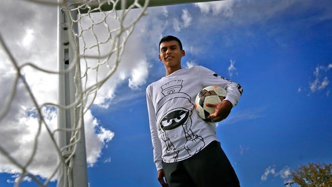 Farmington's Yosmar Ruiz poses for a portrait on Oct. 3 at the Farmington soccer fields in Farmington.
