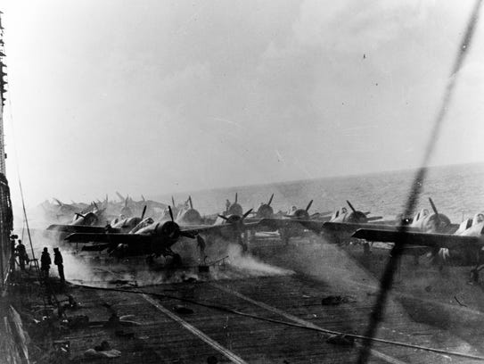 A view of the flight deck of the aircraft carrier Lexington