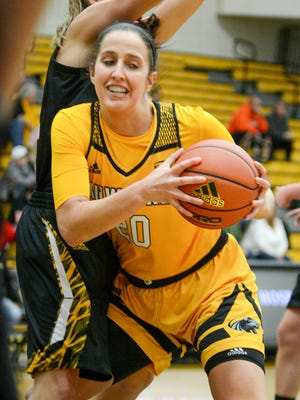 UW-Milwaukee guard Jenny Lindner (shown in an earlier game)  scored 17 points on Tuesday night.