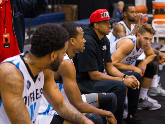 C.J. McCollum on the Overseas Elite bench. (Photo courtesy of The Basketball Tournament)
