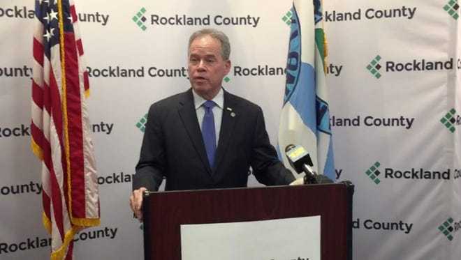 Rockland County Executive Ed Day speaking during a press conference about the future of the human rights commissioner position on Tuesday, Nov. 22, 2016.