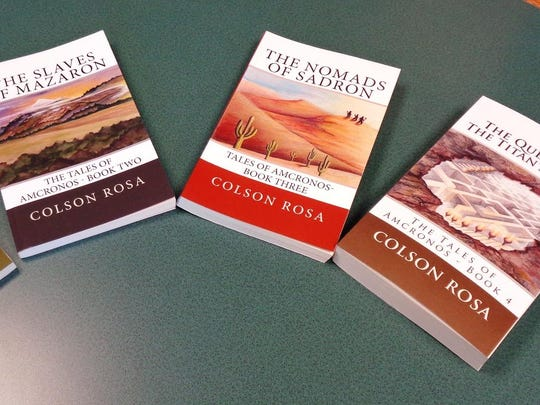 """The first four books of the series """"The Tales of Amcronos"""" written by local teen author Colson Rosa."""