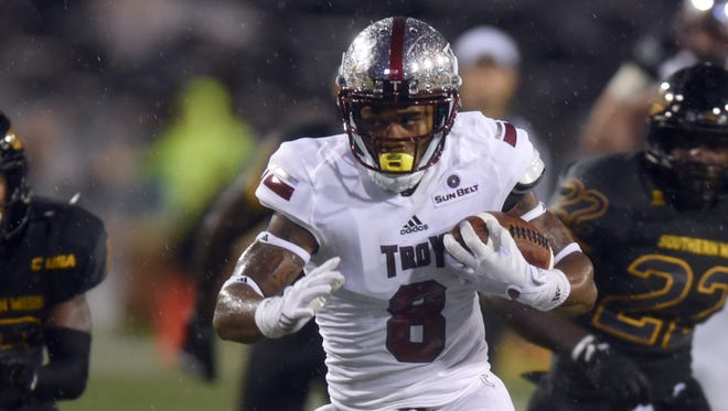 Troy receiver Emanuel Thompson finished four catches shy of tying a school record with 80 receptions last season.