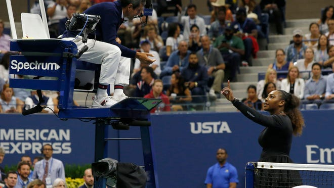"Serena Williams argues with chair umpire Carlos Ramos during the 2018 US Open women's singles final match in New York. Williams has been fined $17,000 by the US Tennis Association. AFP/Getty Images (FILES) In this file photo taken on September 8, 2018 Serena Williams of the US argues with chair umpire Carlos Ramos while playing Naomi Osaka of Japan during their 2018 US Open women's singles final match in New York. - Serena Williams has been fined $17,000 by the US Tennis Association in the wake her outburst during a controversial US Open final loss to Japan's Naomi Osaka. The American star was fined for coaching, racquet abuse and for verbal abuse when she accused umpire Carlos Ramos of being ""a thief"" during Saturday's stormy final.Williams was incensed at the coaching violation, although coach Patrick Mouratoglou, sitting in her box, admitted that he was coaching when he moved his hands. (Photo by Eduardo MUNOZ ALVAREZ / AFP)EDUARDO MUNOZ ALVAREZ/AFP/Getty Images"