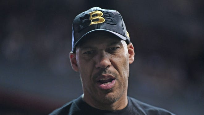LaVar Ball looks on prior to the game between the Boston Celtics and Los Angeles Lakers at Thomas & Mack Arena.