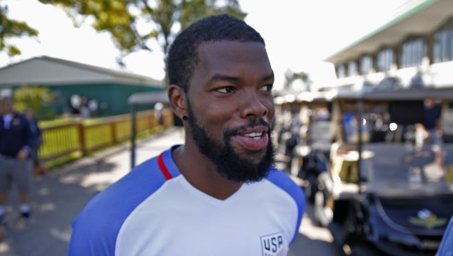 Pacers' Aaron Brooks smiles before the Pacers Golf Outing, held at the Brickyard Crossing Golf Course, Wednesday, September 21, 2016.
