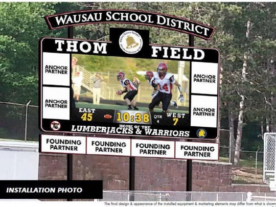 An artist conception of what the proposed video scoreboard at Thom Field could look like.