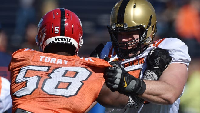 Brett Toth of Army, right, impressed scouts with his play at the Senior Bowl in January.