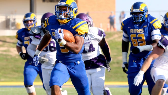 Angelo State University running back Josh Stevens ran for 159 yards and three touchdowns in the Rams' 74-24 win against UT Permian Basin at Ratliff Stadium in Odessa on Saturday night.