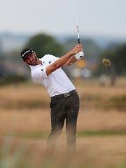 Dustin Johnson practices for the British Open at Carnoustie