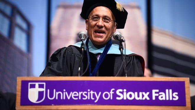 University of Sioux Falls President Brett Bradfield speaks at his inauguration on Thursday, Sept. 7, 2017. Bradfield is the 23rd president of the University.