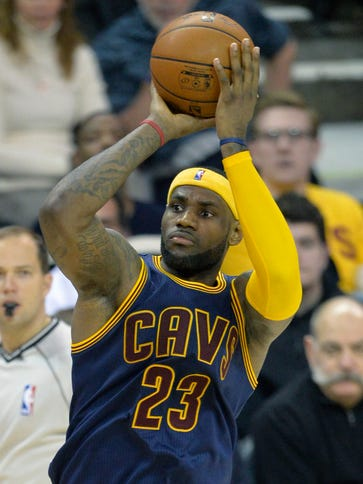 Cleveland Cavaliers forward LeBron James shoots in