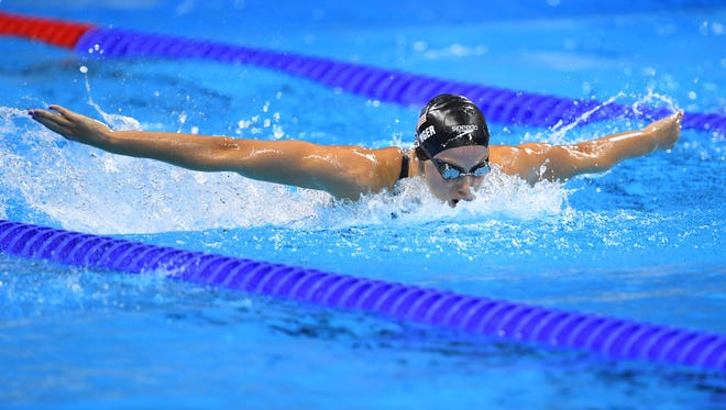 Hali Flickinger races during the women's 200-meter butterfly final Aug. 10, 2016, in the Rio 2016 Summer Olympic Games at Olympic Aquatics Stadium. She finished seventh at the Rio Olympics.
