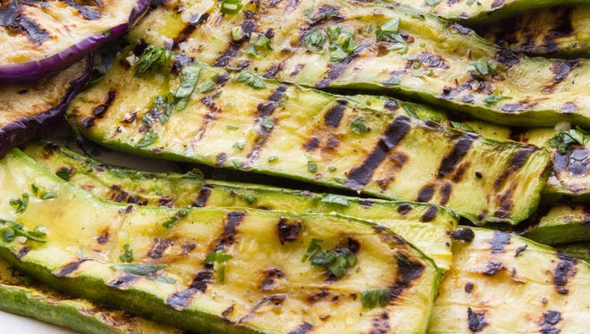 Slice your zucchini and eggplant lengthwise before putting them on the grill.