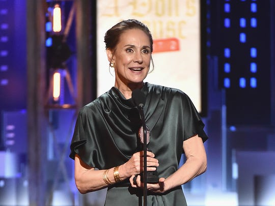 """Laurie Metcalf accepts the award for best performance by an actress in a leading role in a play for 'A Doll's House, Part 2' onstage at the 2017 Tony Awards.  Metcalf will star in the upcoming """"Hillary and Clinton."""""""