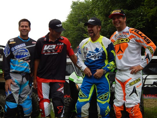The annual charity event started Sunday morning with the customary trail ride and motocross exhibition in Vanleer. Pictured are, from left, Randy Hawkins, Fred Andrews, Craig Morgan and Kevin Windham.