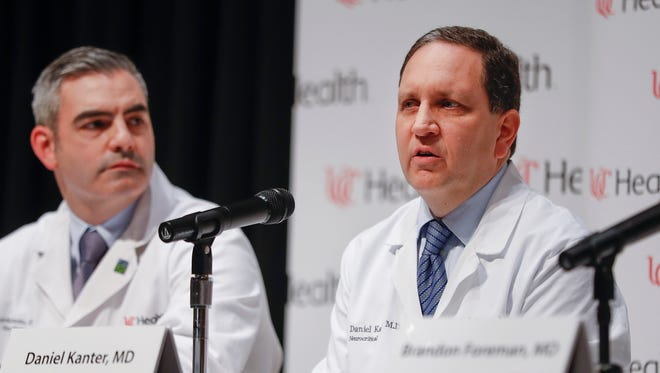 Dr. Daniel Kanter, medical director of the Neuroscience Intensive Care Unit, right, speaks alongside Jordan Bonomo, a neurointensivist, left, during a news conference regarding Otto Warmbier's condition, Thursday, June 15, 2017, at the University of Cincinnati Medical Center in Cincinnati. Warmbier returned to the United States from North Korea on June 13, 2017, in a state of unresponsive wakefulness.
