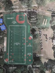 A mock-up of the proposed turf field New Milford recreation