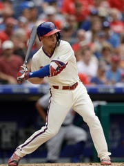 The Phillies' Scott Kingery takes a cut during Wednesday's game against the Dodgers in which he homered.