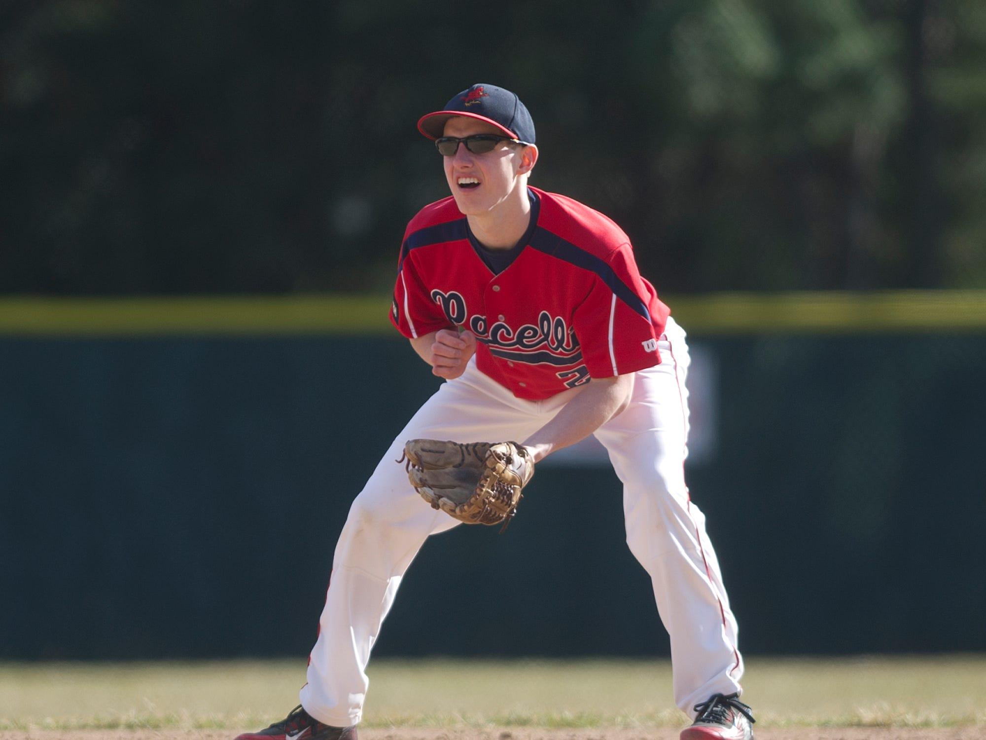 Pacelli's Troy Flugaur during the baseball game against Bonduel at Bukolt Park in Stevens Point, Monday, April 13, 2015.