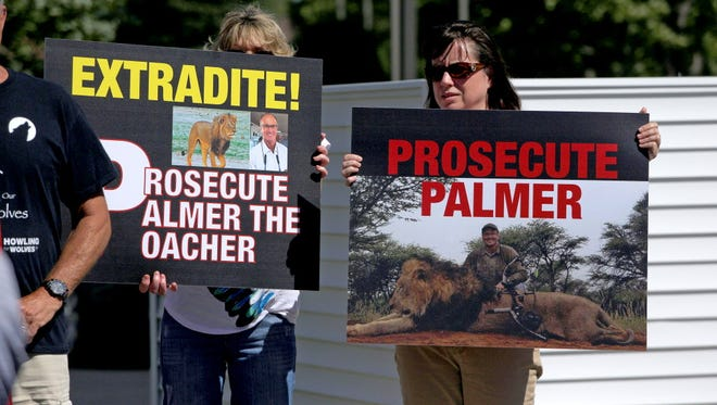 Protesters in the parking lot of Walter Palmer's dental practice in Bloomington, Minn., on July 29, 2015.