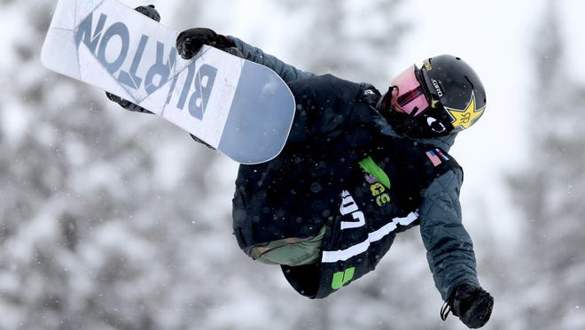 Jake Pates competes in men's pro snowboard superpipe qualification at the Dew Tour in Breckenridge, Colo. on Wednesday.