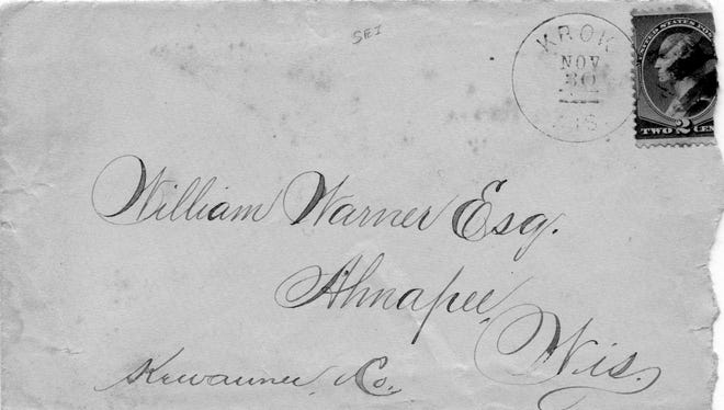 """SNAPSHOT IN TIME: By the time Ahnapee's William Warner, Esq., received this letter, postmarked Nov. 30, 1898 from the Town of Krok, Krok had ceased to exist. However, U.S. Post Office documents tell us there were three Kewaunee County hamlets called Krok. Krok moved around!  When the Town of Krok was renamed, an 1876 paper pointed out that """"The Krok-ery don't (sic) like Krok, but what's in a name?"""" The paper also noted that Krok was the name of a great and good family of Bohemian rulers in ancient times, in the seventh and eighth centuries. (The Czech pronunciation is """"croak."""")  Even though the town faded into history, the communities of Krok and nearby East Krok remain in Kewaunee County.  The photo comes from the book """"Here Comes the Mail: Post Offices of Kewaunee County"""" by by Patricia Sharpe, Virginia Feld Johnson and Carl R. Kannerwurf, published in 2010."""