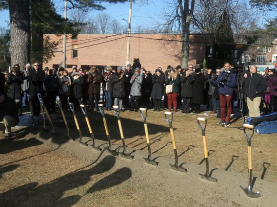 Faculty, students, and members of the community gather for a groundbreaking ceremony for the Barbara Walters Center at Sarah Lawrence College in Yonkers Jan. 18, 2018. Barbara Walters, an alumna of the college, donated $15 million for the construction of the center which will serve as a gathering place for students, faculty, and staff with lounges, dining and event facilities.