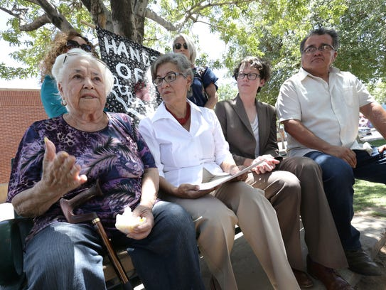 Duranguito resident Carmen Morales talks recently about