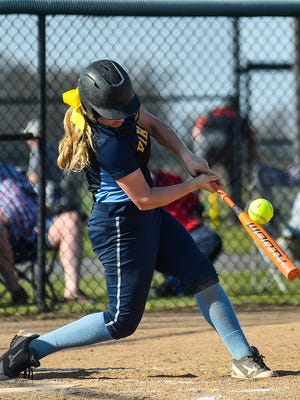 River Valley junior Claire Nicholson gets a hit against North Union earlier this season. She was named Fahey Bank Athlete of the Month for April.