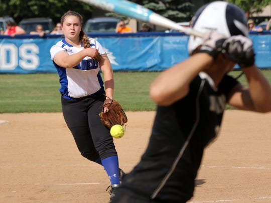 Juliana Rich of Horseheads delivers a pitch tp a Corning batter last year.