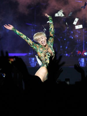 Miley Cyrus performs at the Verizon Center on April 10.