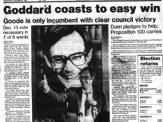 1983 Front page of The Arizona Republic's elections