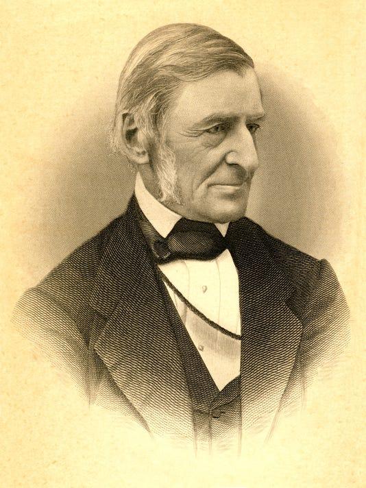 Vintage Sepia Portrait of Poet Ralph Waldo Emerson