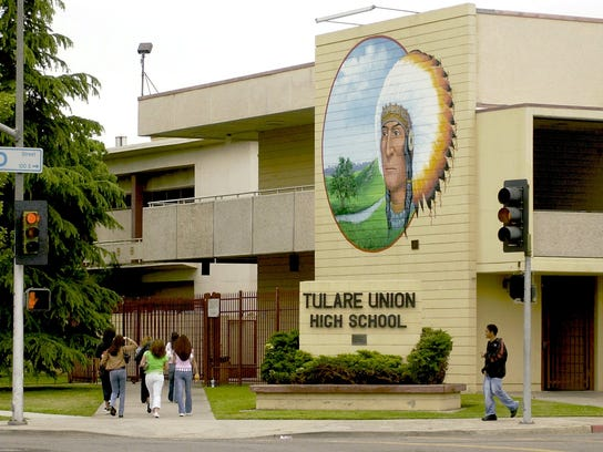 Tulare Union's redskin mascot is prominently displayed