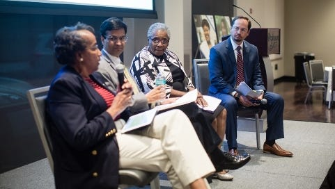 (L-R) Health disparities panel participants Renee Frazier, retired CEO of Common Table Health Alliance; Manoj Jain, M.D., infectious disease specialist; Altha Stewart, M.D., associate professor at the University of Tennessee Health Science Center and president-elect of the American Psychiatric Association; and Scott Pierce, BlueCross chief operations officer.