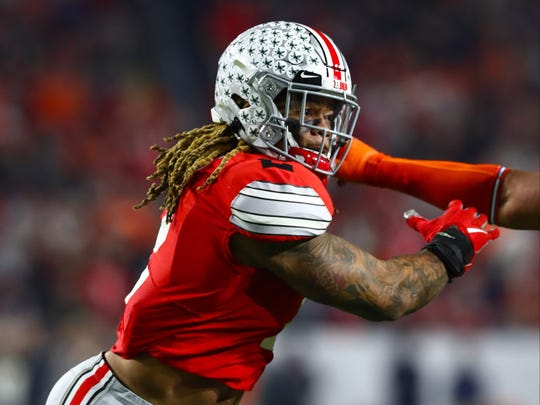 Dec 28, 2019; Glendale, Arizona, USA; Ohio State Buckeyes defensive end Chase Young (2) in action against the Clemson Tigers in the 2019 Fiesta Bowl college football playoff semifinal game. Mandatory Credit: Matthew Emmons-USA TODAY Sports