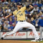 Milwaukee Brewers pitcher Jorge Lopez (28) pitched five effective innings for the Brewers in their season finale Sunday afternoon against the Chicago Cubs.