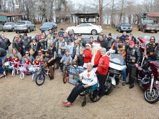 Children were surprised with some Christmas cheer Dec. 16 when almost 30 motorcycle riders – and Santa Claus himself - brought presents to Lake Bistineau.