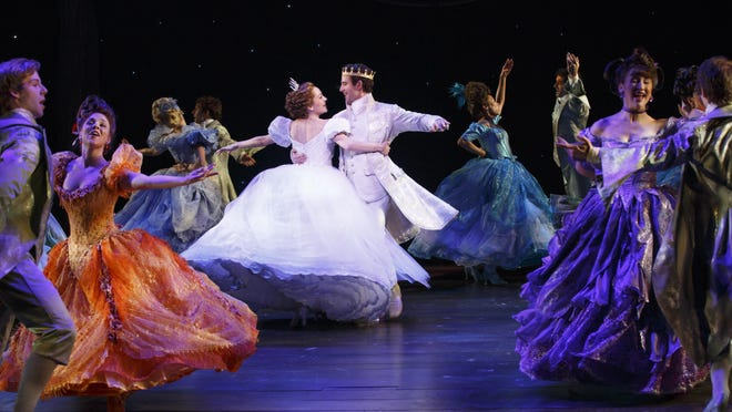 """Laura Osnes as Cinderella is shown with Santino Fontana and the ensemble from the original Broadway company of """"Cinderella."""""""