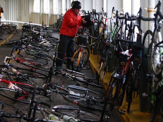 Bicyclists crowd onto the ferry to Bainbridge for Sunday's